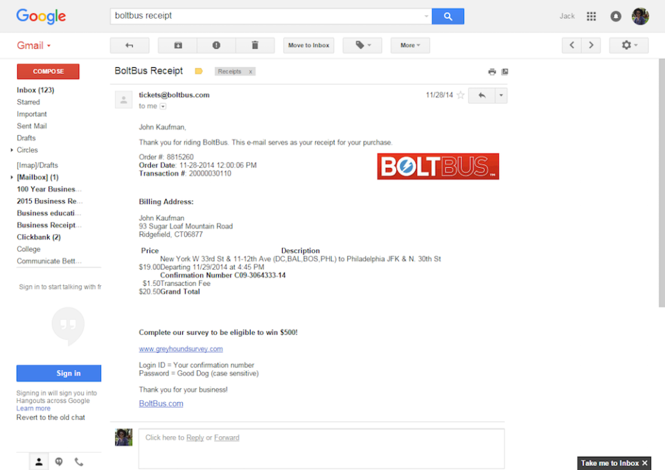 A screenshot of the receipt for BoltBus.