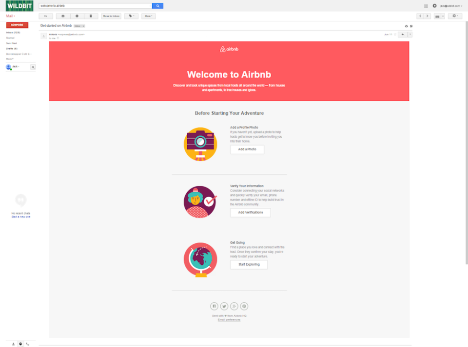 A screenshot of the AirBnB welcome email template.