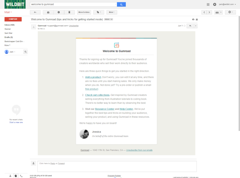 A screenshot of the Gumroad welcome email template.