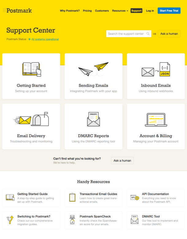A screenshot of the new help center home page organized by topic and offering search and multiple contact methods.
