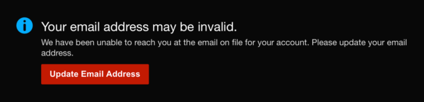 Netflix invalid email address notification