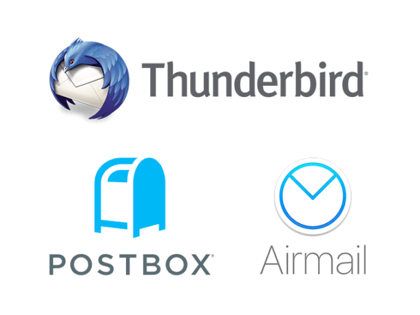 Thunderbird, Airmail, and Postbox logos