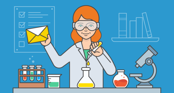 Illustration of a woman testing emails in a lab.