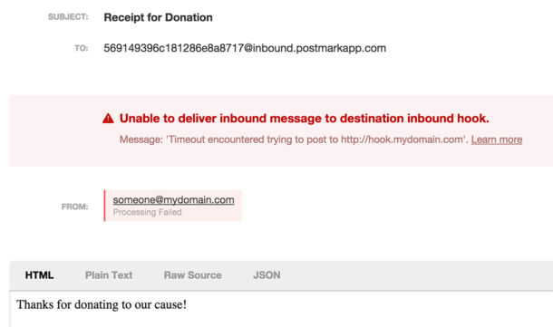 Screenshot of an inbound email that failed and the associated error message.