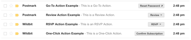 A screenshot of some sample Gmail Inbox Actions.