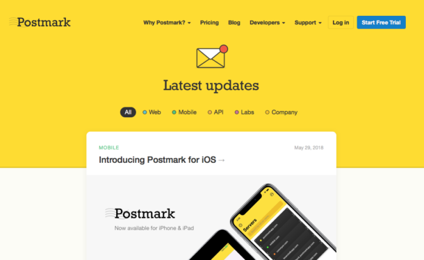 A screenshot of the new Postmark changelog.