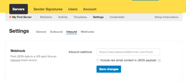 Image of webhook settings section in Postmark