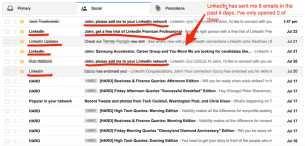 A screenshot of an inbox overwhelmed by LinkedIn spam.
