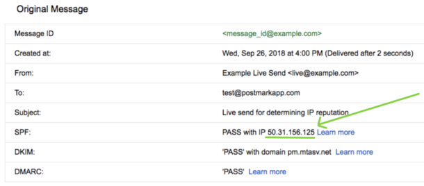Screenshot of email message headers