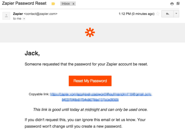 A screenshot of the Zapier password reset email.