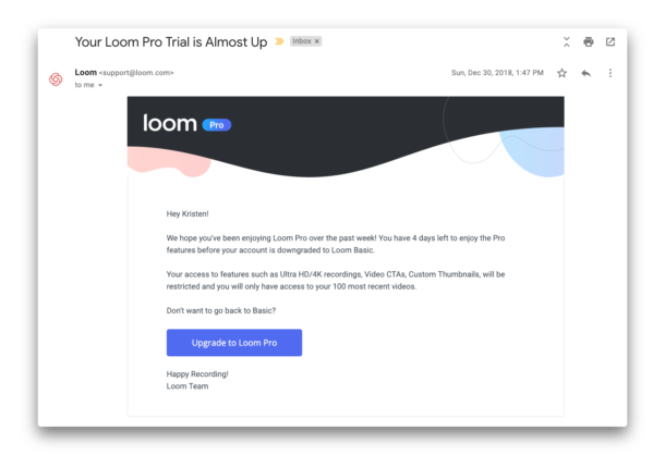 Image of an email from Loom