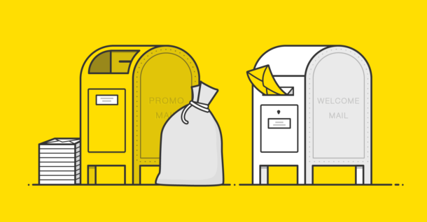 """Illustration of two mailboxes with """"promo mail"""" written on one and """"welcome mail"""" written on the other."""