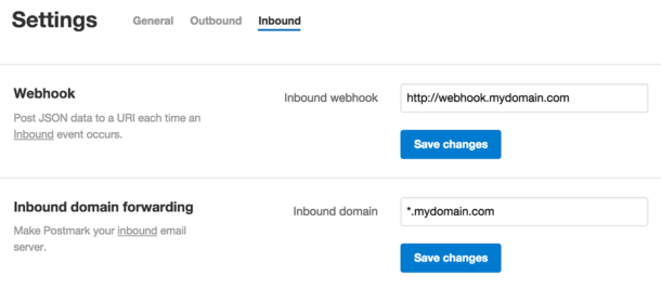 Screenshot of the server settings area for inbound email processing.