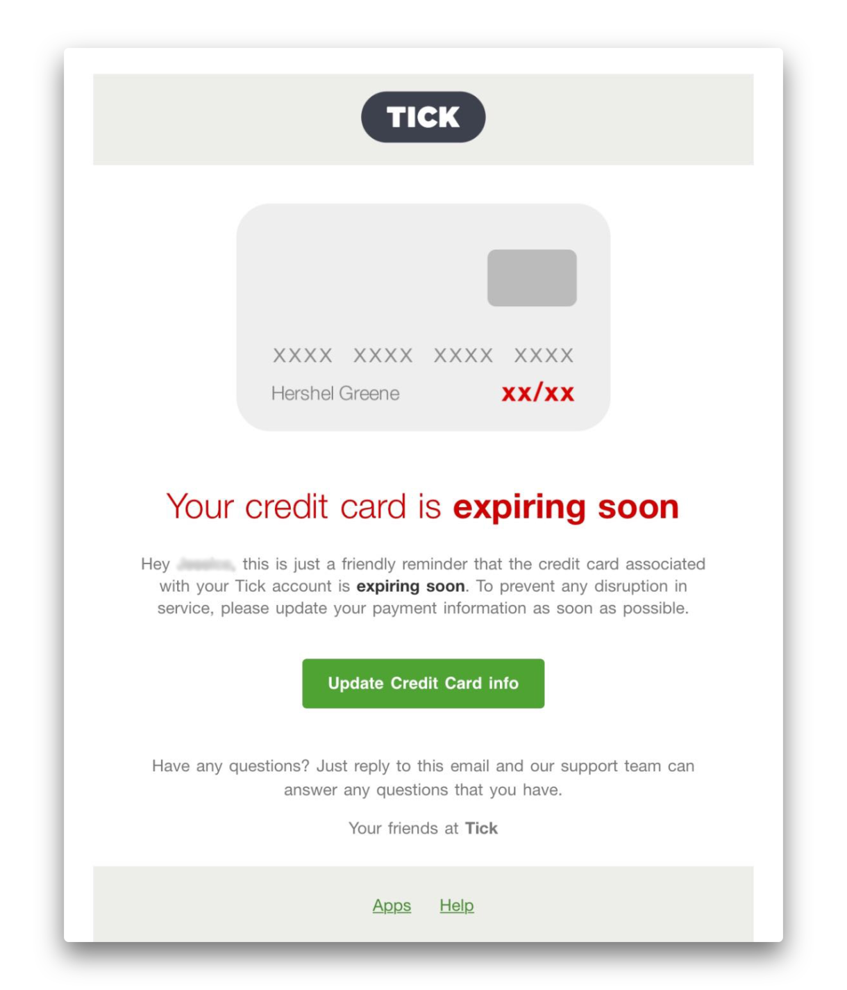 Image of an email from Tick