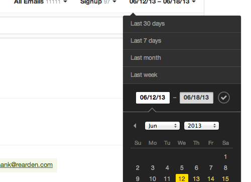 You can select date ranges when you want to research delivery from Postmark.