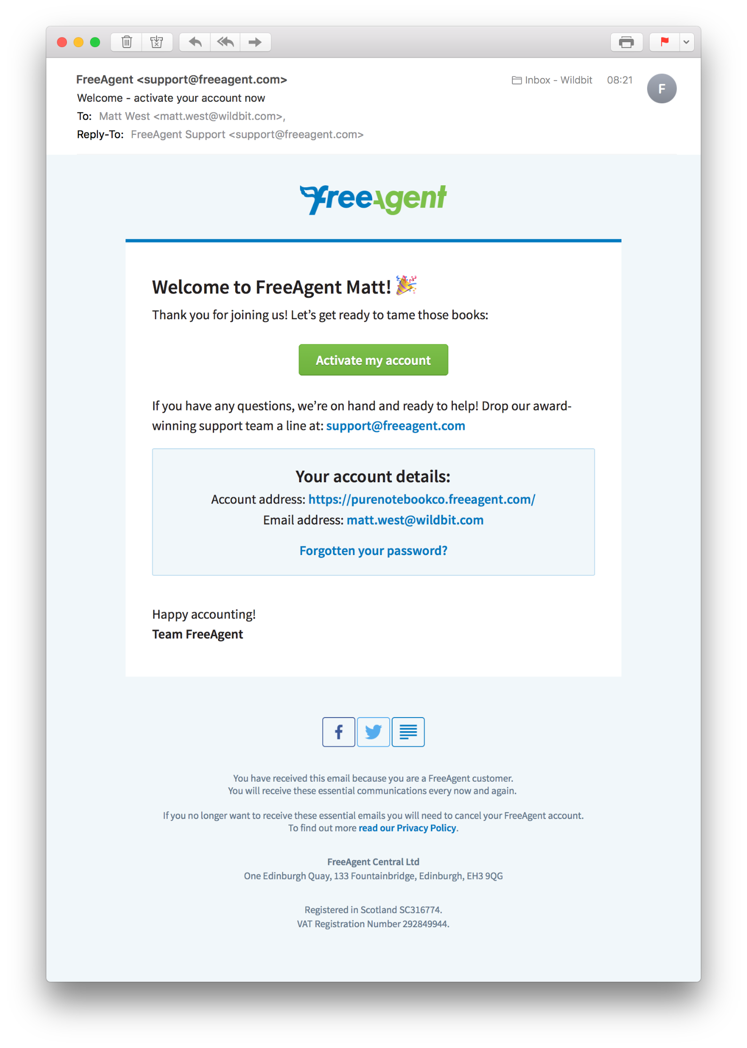 FreeAgent Activation Email