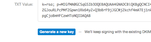 Generate a new DKIM key in Postmark