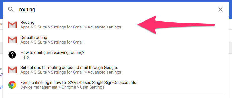 Search results list from Google Admin