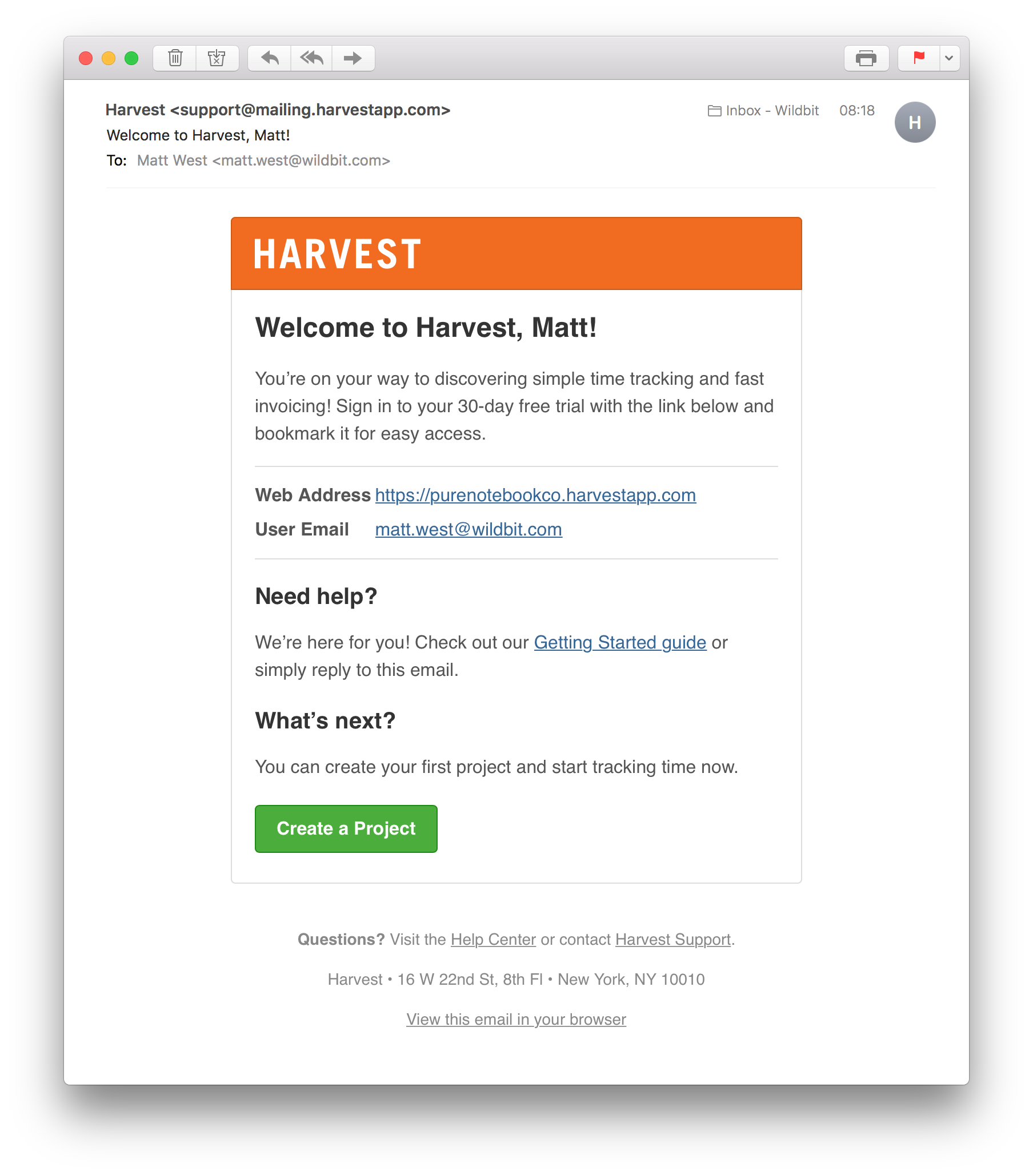 Harvest Welcome Email
