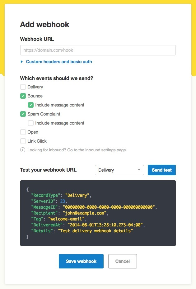 Add a new webhook