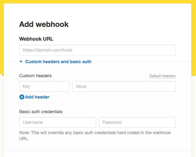 Webhook advanced settings