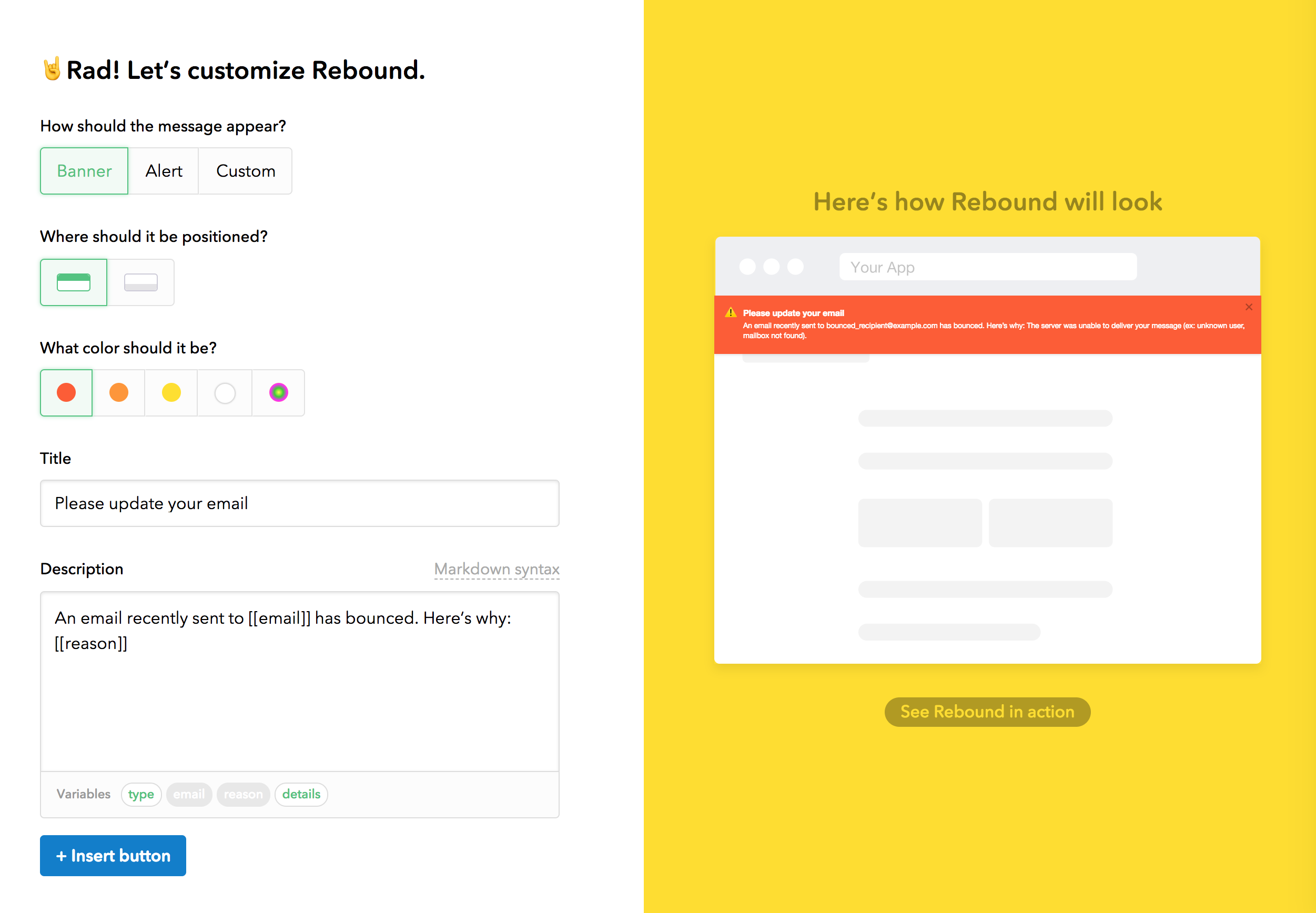 Postmark Rebound notification builder