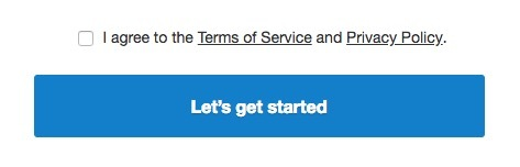 Terms of Service checkbox about sign up button