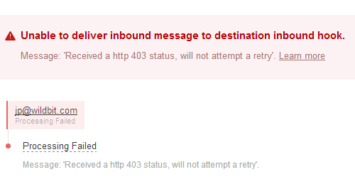 Unable to deliver inbound message to destination inbound hook.