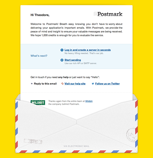Our updated Postmark welcome email.