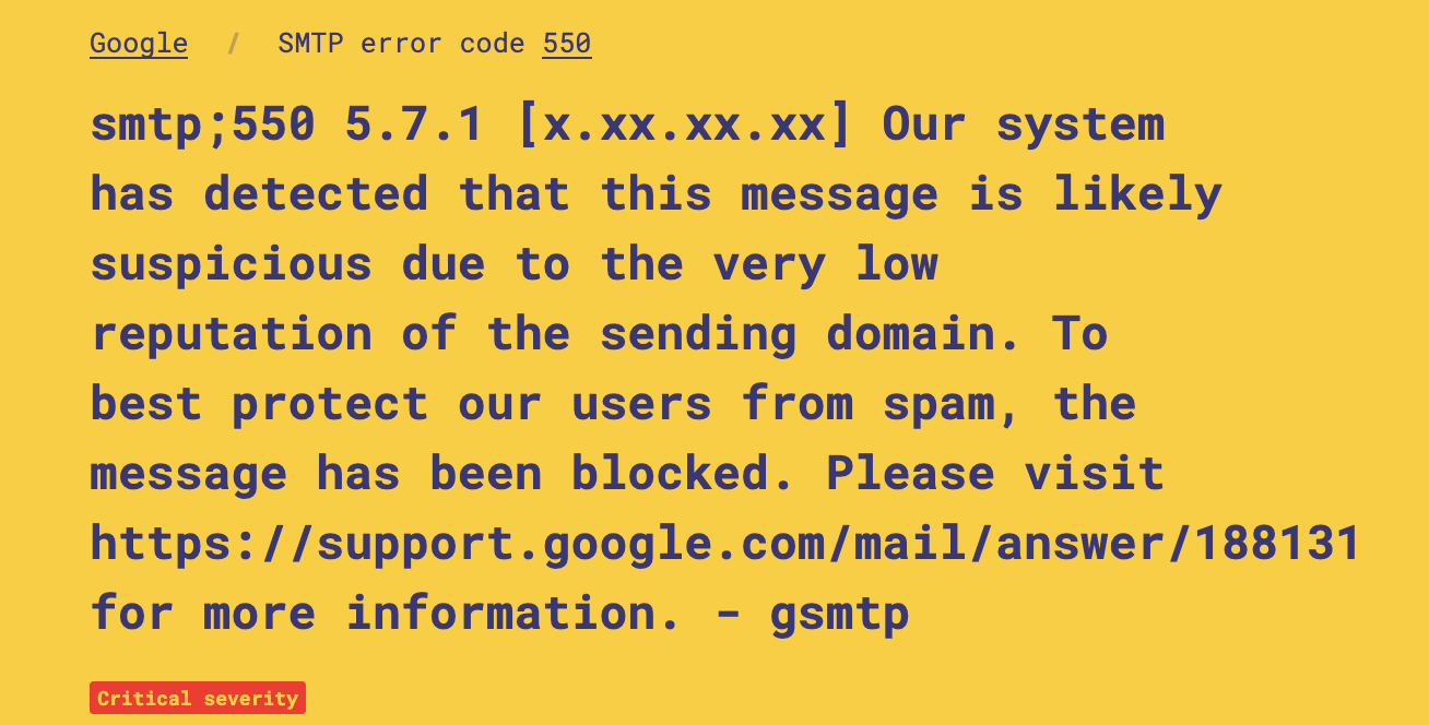 5xx or hard bounce email error