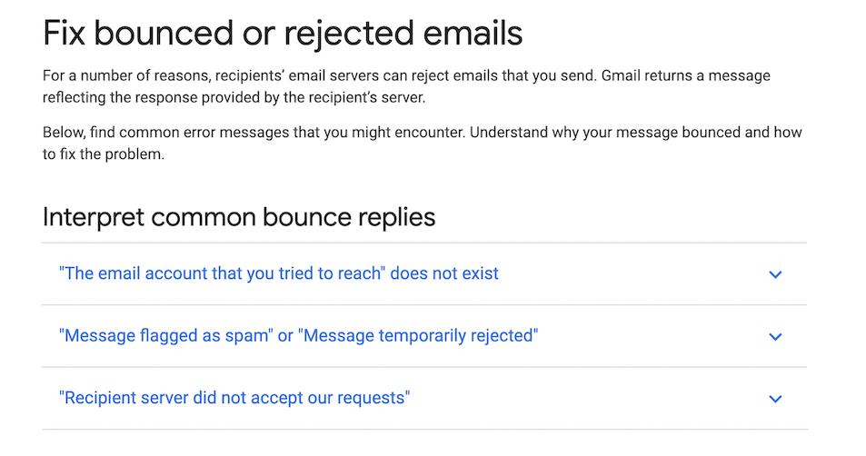Gmail how-to guide for fixing bounced emails