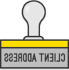 "Illustration: A rubber stamp with the text ""client address"""