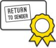 "Illustration: A letter with a ""return to sender"" sticker on the front"