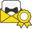 Illustration: An open envelope with a letter coming out the top that has a bow tie attached