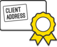 "Illustration: An enveloper with a sticker containing the text ""client address"""