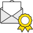 Illustration: An open envelope behind a yellow rosette
