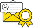 Illustration: An open envelope with a speech bubble and rosette
