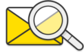 Illustration: A magnifying glass inspecting a closed envelope