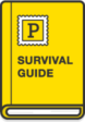 """Illustration: Book with Postmark logo and """"Survival Guide"""" title."""
