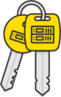 Illustration: Two yellow keys with server icons on the heads.