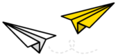 Two paper planes. One white and one yellow.