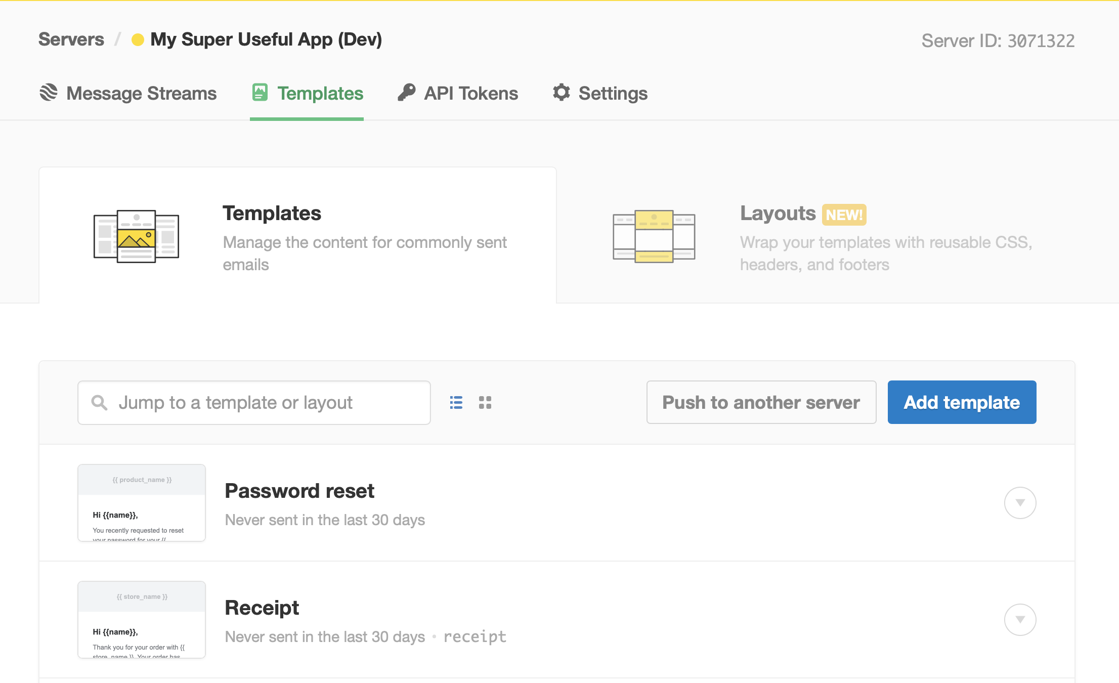 Screenshot of the choice of templates or the option to code your own templates.
