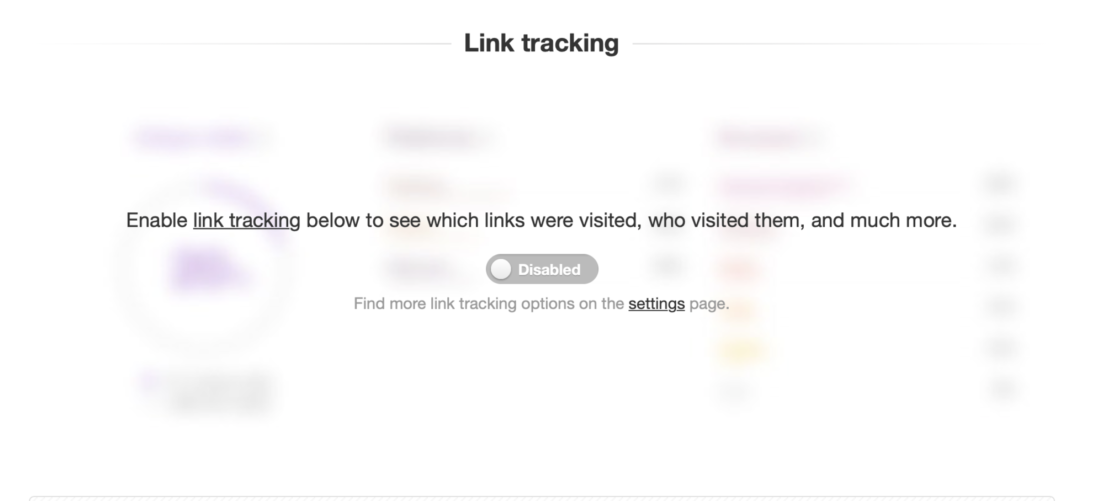 Screenshot of link tracking setting from statistics tab.