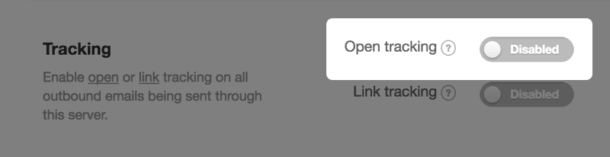 Screenshot of open tracking setting in a message stream.