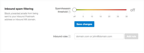 A screenshot of the slider for the SpamAssassin threshold as well as a text input field for adding rules for filtering spam.