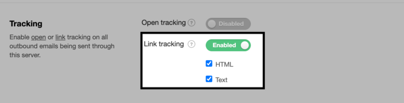 Screenshot of link tracking setting from settings tab.
