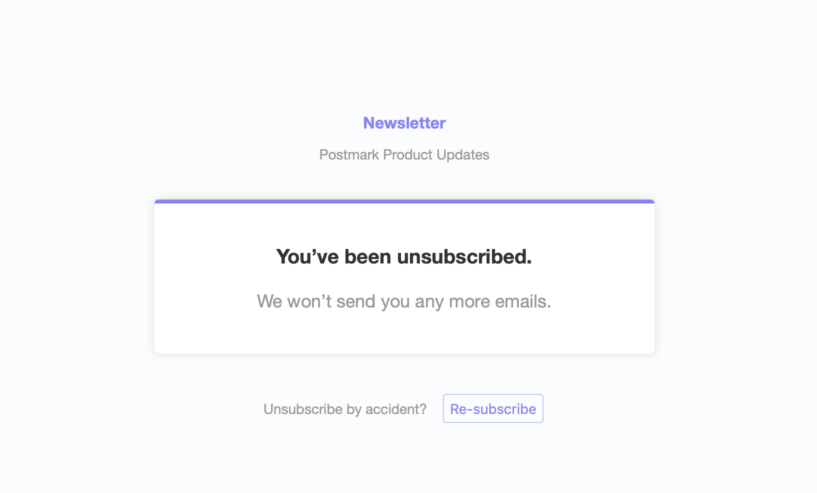 Screenshot of unsubscrube confirmation page