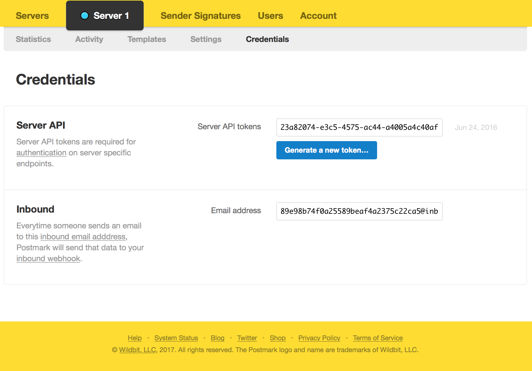 Screenshot of example server credentials for the server API as well as the automatically generated inbound email address.